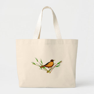 Sparrow Sitting On Branch Large Tote Bag