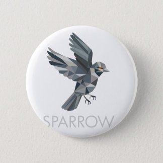 Sparrow Text Low Polygon 2 Inch Round Button