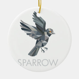 Sparrow Text Low Polygon Ceramic Ornament