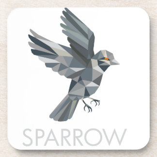 Sparrow Text Low Polygon Coaster