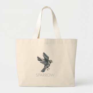 Sparrow Text Low Polygon Large Tote Bag