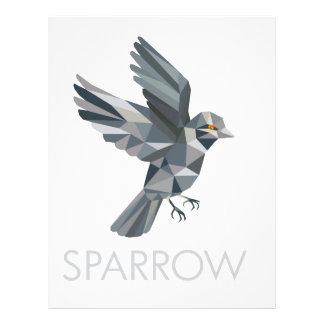 Sparrow Text Low Polygon Letterhead