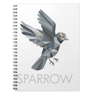 Sparrow Text Low Polygon Notebook