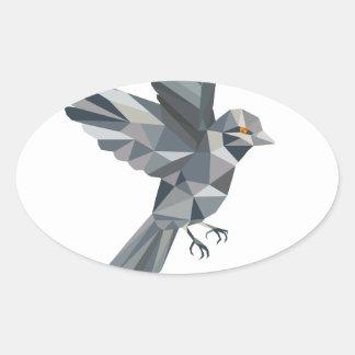 Sparrow Text Low Polygon Oval Sticker