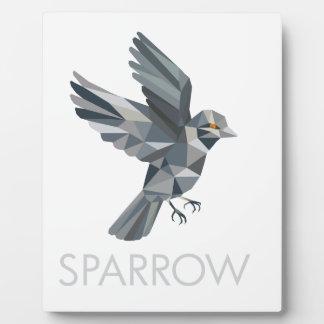 Sparrow Text Low Polygon Plaque