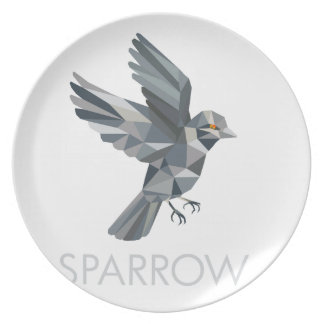 Sparrow Text Low Polygon Plate