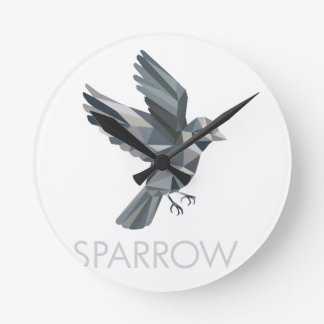 Sparrow Text Low Polygon Round Clock