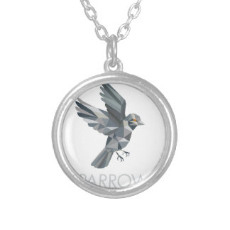 Sparrow Text Low Polygon Silver Plated Necklace
