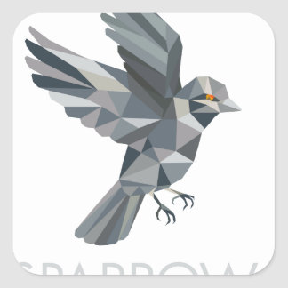 Sparrow Text Low Polygon Square Sticker