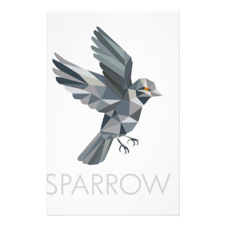 Sparrow Text Low Polygon Stationery