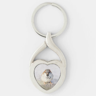 Sparrow - The Warrior Silver-Colored Twisted Heart Keychain