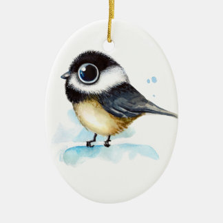 Sparrow watercolor ceramic ornament