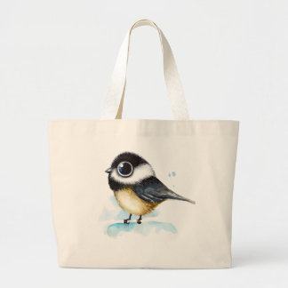 Sparrow watercolor large tote bag