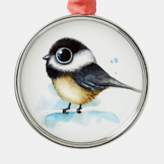 Sparrow watercolor metal ornament