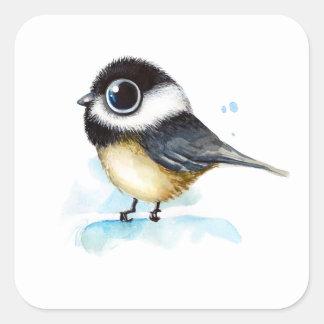 Sparrow watercolor square sticker