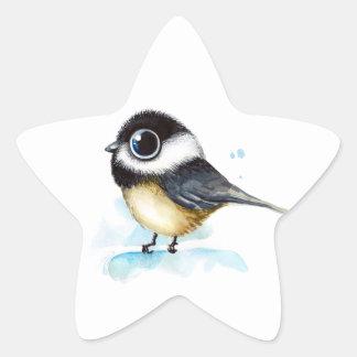 Sparrow watercolor star sticker