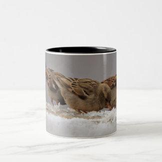 Sparrows ON SNOW Two-Tone Coffee Mug