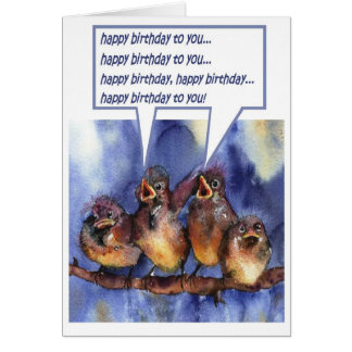 sparrows wishing you a happy birthday card
