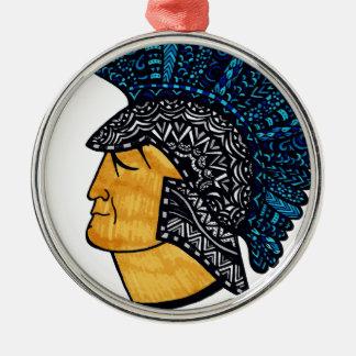 Spartan Head - Blue Silver-Colored Round Ornament