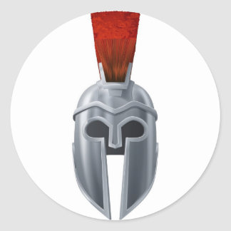 Spartan helmet illustration classic round sticker