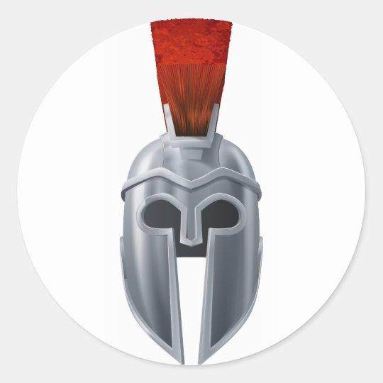Spartan helmet illustration classic round sticker