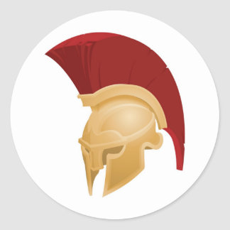 Spartan or Trojan helmet Classic Round Sticker