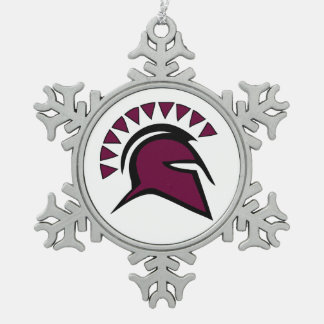 Spartan Snowflake Pewter Christmas Ornament