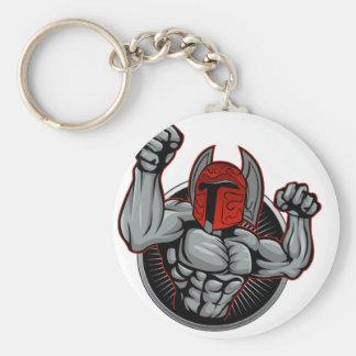 Spartan Trojan Mascot Basic Round Button Keychain