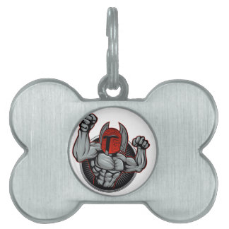 Spartan Trojan Mascot Pet Name Tag