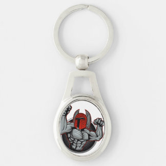Spartan Trojan Mascot Silver-Colored Oval Keychain