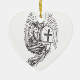 Spartan Warrior Angel Shield Rosary Tattoo Ceramic Ornament