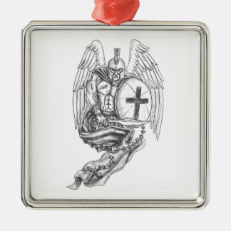 Spartan Warrior Angel Shield Rosary Tattoo Metal Ornament