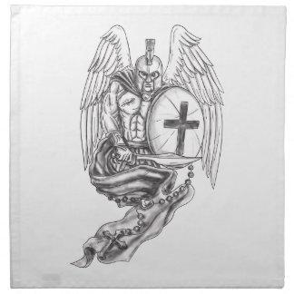 Spartan Warrior Angel Shield Rosary Tattoo Napkin