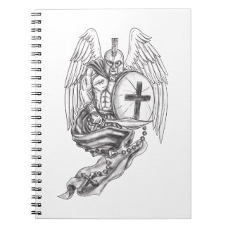 Spartan Warrior Angel Shield Rosary Tattoo Notebook