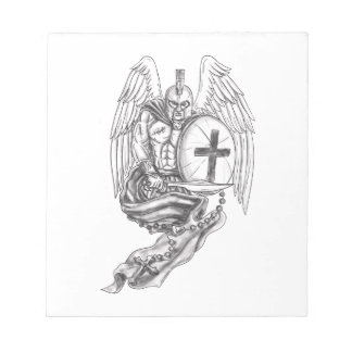 Spartan Warrior Angel Shield Rosary Tattoo Notepad