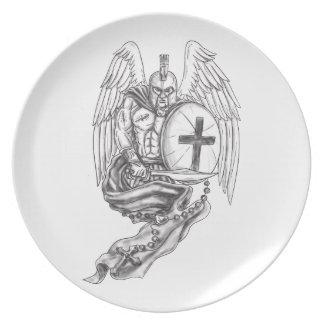 Spartan Warrior Angel Shield Rosary Tattoo Plate