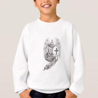 Spartan Warrior Angel Shield Rosary Tattoo Sweatshirt