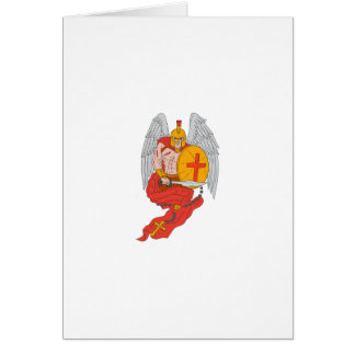 Spartan Warrior Angel Sword Rosary Drawing Card