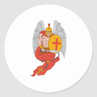 Spartan Warrior Angel Sword Rosary Drawing Classic Round Sticker