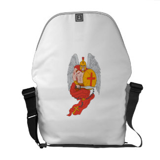 Spartan Warrior Angel Sword Rosary Drawing Commuter Bag