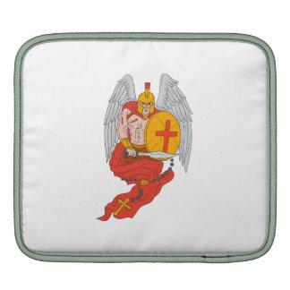 Spartan Warrior Angel Sword Rosary Drawing iPad Sleeve