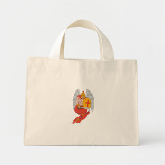 Spartan Warrior Angel Sword Rosary Drawing Mini Tote Bag