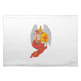 Spartan Warrior Angel Sword Rosary Drawing Placemat
