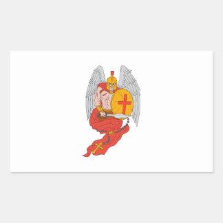 Spartan Warrior Angel Sword Rosary Drawing Sticker