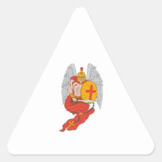 Spartan Warrior Angel Sword Rosary Drawing Triangle Sticker