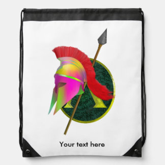 Spartan Warrior Colorful Drawstring Bag