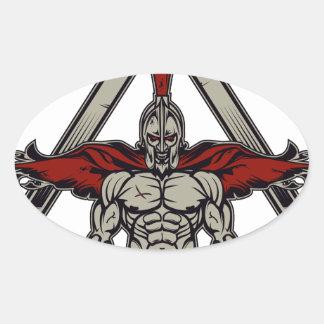 Spartan Warrior Oval Sticker
