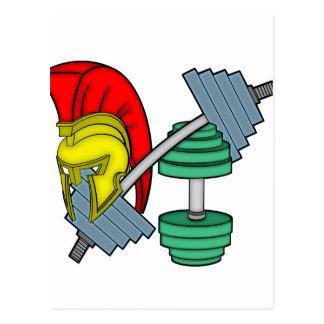Spartan's helmet on gym equipment postcard