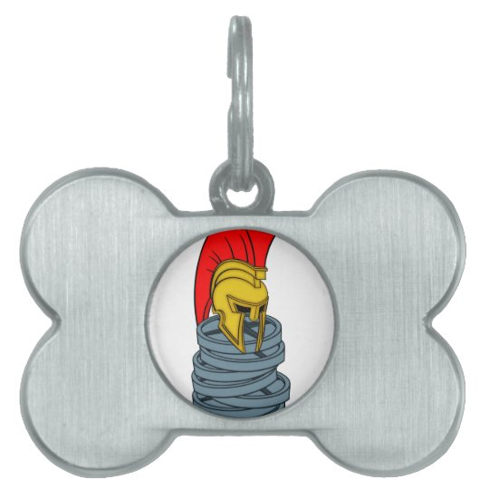 spartan's helmet on weights pet tag