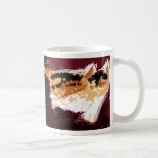 Spatter cat basic white mug